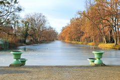 Historic Vases and Frozen Pond Stock Photography