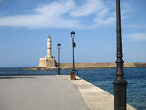 Historic Venetian Lighthouse of Chania, View from Chania Old Port on Crete Island Royalty Free Stock Image
