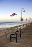 Historic Ventura Pier, California. Historic Wooden Ventura Pier in Southern California at Dusk stock photos