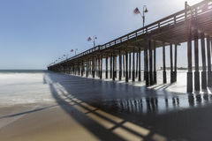 Historic Ventura Pier in Southers California. Historic Ventura pier with motion blur water in Southern California Royalty Free Stock Photos