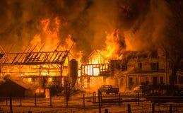 Historic Vermont Farm Fire Stock Photo