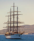 Historic Vessel. MYKONOS ISLAND - JULY 7: Sea Cloud is a historic sailing cruise ship of the sea. Served as a weather ship for the United States Coast Guard and stock photos