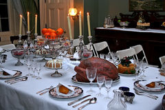 Historic victorian meal of Christmas. Royalty Free Stock Images