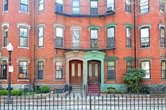Historic Victorian Row House in South End Boston royalty free stock photos