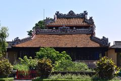 Historic Vietnamese Tea House. Beautiful Vietnamese Tea House located near of Hanoi city. The details of the roof are fascinating royalty free stock photography