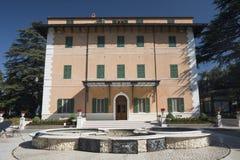 Historic villa near Appignano Ancona, Marches. Facade and fountain of an historic villa near Appignano Ancona, Marches, italy at morning Stock Photography