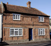 Historic Village House. English roadside Village House with Herringbone brickwork Royalty Free Stock Photo