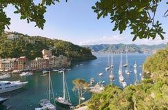 Historic village and port of Portofino. Ligurian sea - Italy royalty free stock photo