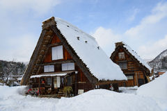 Historic Village of Shirakawa-go in winter Royalty Free Stock Photos