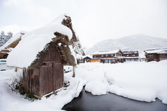 Historic Village of Shirakawa-go in winter, Japan Stock Photo