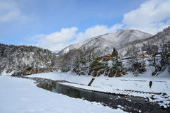 Historic Village of Shirakawa-go in winter Royalty Free Stock Photo