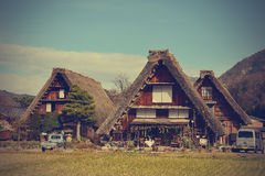 Historic village of Shirakawago in Japan is famous for the Gassh. O style architecture and is a UNESCO World Heritage Site (Filtered image processed vintage Stock Photo