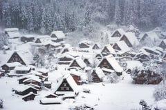 Historic Village of Shirakawago. In winter Stock Photo