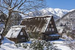 Historic Village of Shirakawago in winter, Japan Stock Image