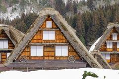 The historic villages of Shirakawa-go in winter , a World Cultur. Al Heritage site in Gifu Prefecture, Japan Royalty Free Stock Image