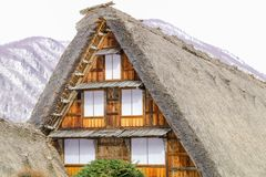 The historic villages of Shirakawa-go in winter , a World Cultur. Al Heritage site in Gifu Prefecture, Japan Stock Photography