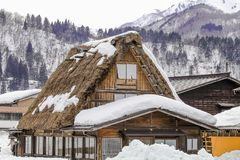 The historic villages of Shirakawa-go in winter , a World Cultur. Al Heritage site in Gifu Prefecture, Japan Royalty Free Stock Photos