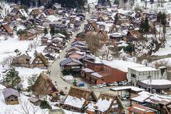 The historic villages of Shirakawa-go in winter , a World Cultural Heritage site in Gifu , Japan. The historic villages of Shirakawa-go in winter , a World royalty free stock photo