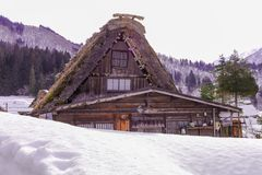 The historic villages of Shirakawa-go in winter , a World Cultur. Al Heritage site in Gifu Prefecture, Japan Royalty Free Stock Photography