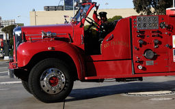Historic Vintage Firetruck. With fireman Royalty Free Stock Photos