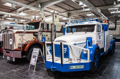 Historic Volvo and Kenworth trucks Stock Photography