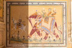 Historic wall painting in Nahargarh Fort, Jaipur, Rajasthan stock photo