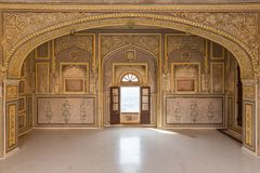 Historic wall painting in Nahargarh Fort, Jaipur, Rajasthan stock image