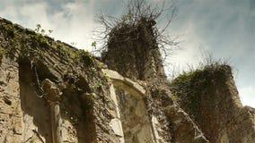 Historic wall at St Guilhem le Desert, Cevennes France stock video footage