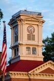 Historic Walton County Georgia Courthouse Clock Tower. Historic Walton County Georgia Courthouse in Monroe Georgia at Sunrise stock photo