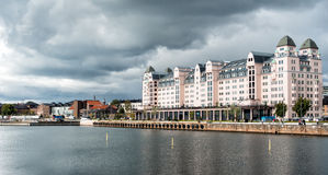 Historic warehouse in Oslo harbor, Norway Stock Images