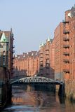 Historic warehouses. In Hamburg harbor, Germany royalty free stock image