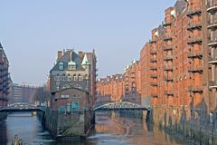 Historic warehouses. In Hamburg harbor, Germany stock image