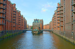 Historic warehouses. In HAmburg harbour, Germany royalty free stock photo