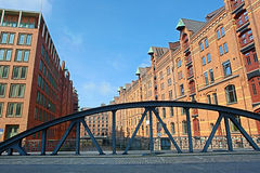 Historic warehouses. In HAmburg harbour, Germany stock photography
