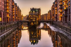 Historic warehouses at the Speicherstadt royalty free stock photos