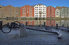 Historic warehouses, Trondheim, Norway. Colorful historic warehouses at the Nidelva river in the centre of Trondheim, Norway, Scandinavia Stock Photo