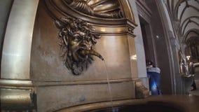 Historic water fountain in Hamburger Rathaus stock video footage