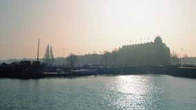 Historic Waterfront In Sunny Haze stock footage