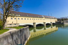 Historic weir at the river Isar  in Munich Royalty Free Stock Photos