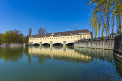 Historic weir at the river Isar  in Munich Stock Photo