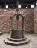 Historic well at Haut-Koenigsbourg Castle. Detail of the courtyard inside the Haut-Koenigsbourg Castle, a historic castle located in a area named Alsace in Royalty Free Stock Photo
