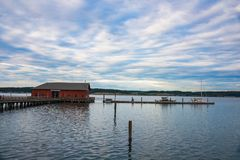 Historic Wharf of Seaside Town of Coupeville on Whidbey I Royalty Free Stock Images