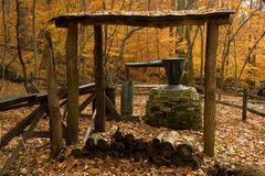 Historic whiskey still. In state park in Maryland stock images