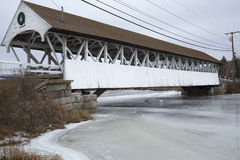 Historic, white covered bridge of Paddleford truss design, New H Stock Image