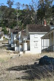 Historic white houses at old Camp Reynolds. The ghost town that is Camp Reynolds as seen on Angel Island Stock Images