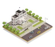 Government Building Area Isometric Composition. Historic white lime painted government building in city center and surrounding area architectural isometric vector illustration