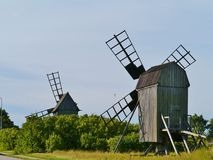 Historic wind mills in Sweden Stock Image