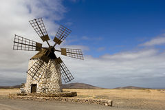 Historic windmill on Fuerteventura, Canary Islands stock images