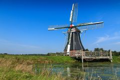 Historic windmill in landscape The Netherlands Royalty Free Stock Photography