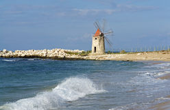Historic windmill in Sicily Stock Images